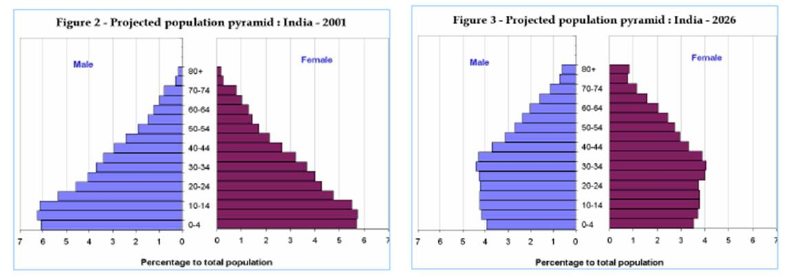 changes in India's popn pyramid